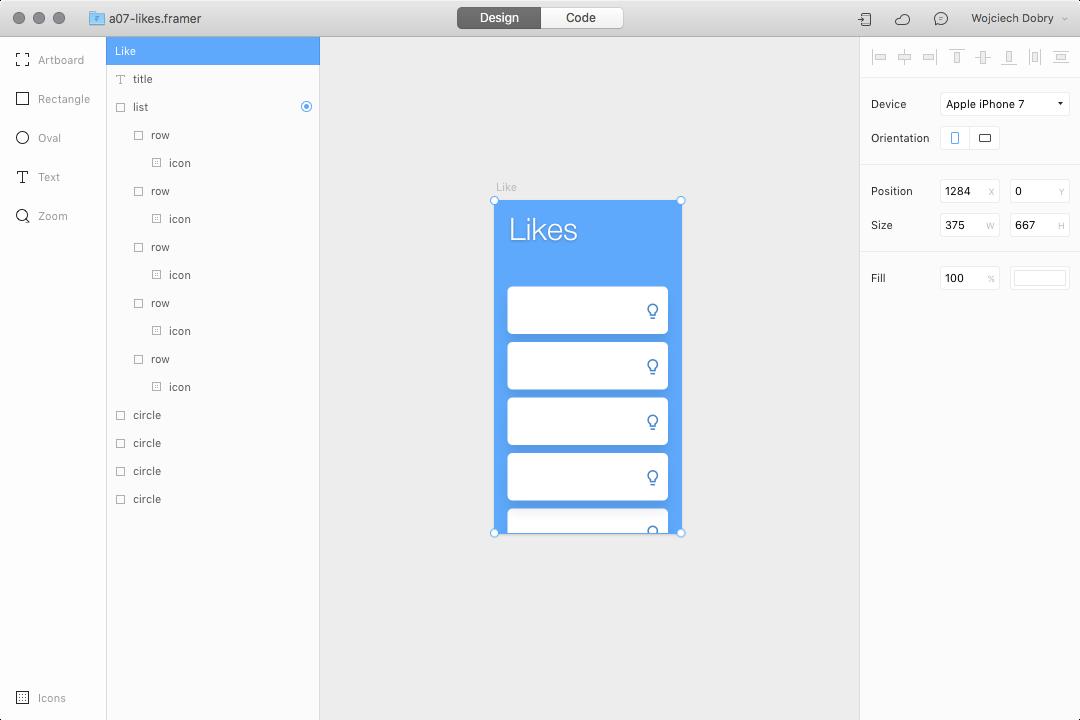 Likes interaction design in Framer