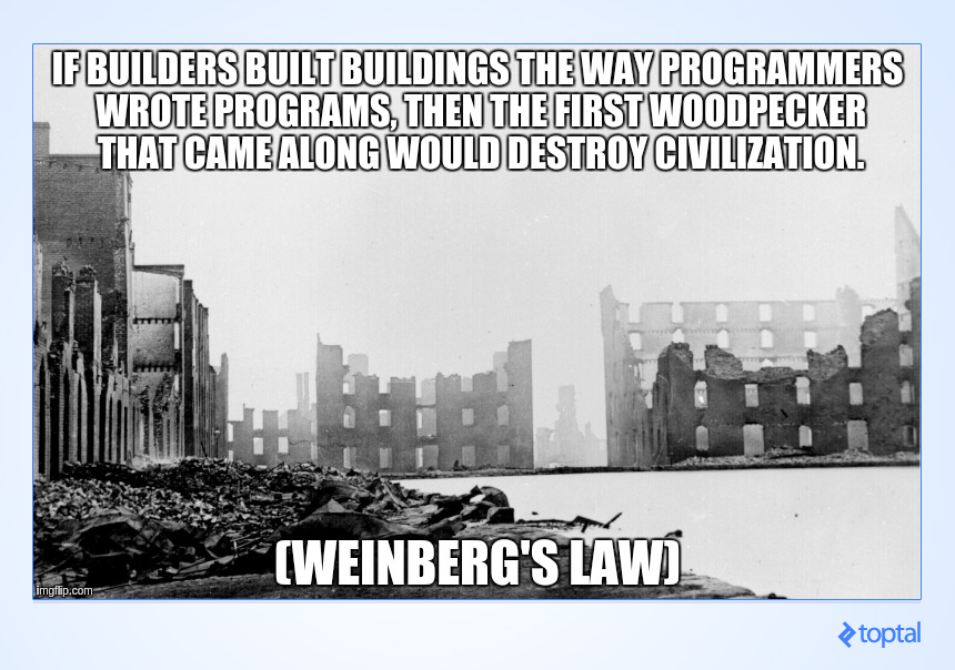 """If builders built buildings the way programmers wrote programs, then the first woodpecker that came along would destroy civilization."" --Weinberg's Law"