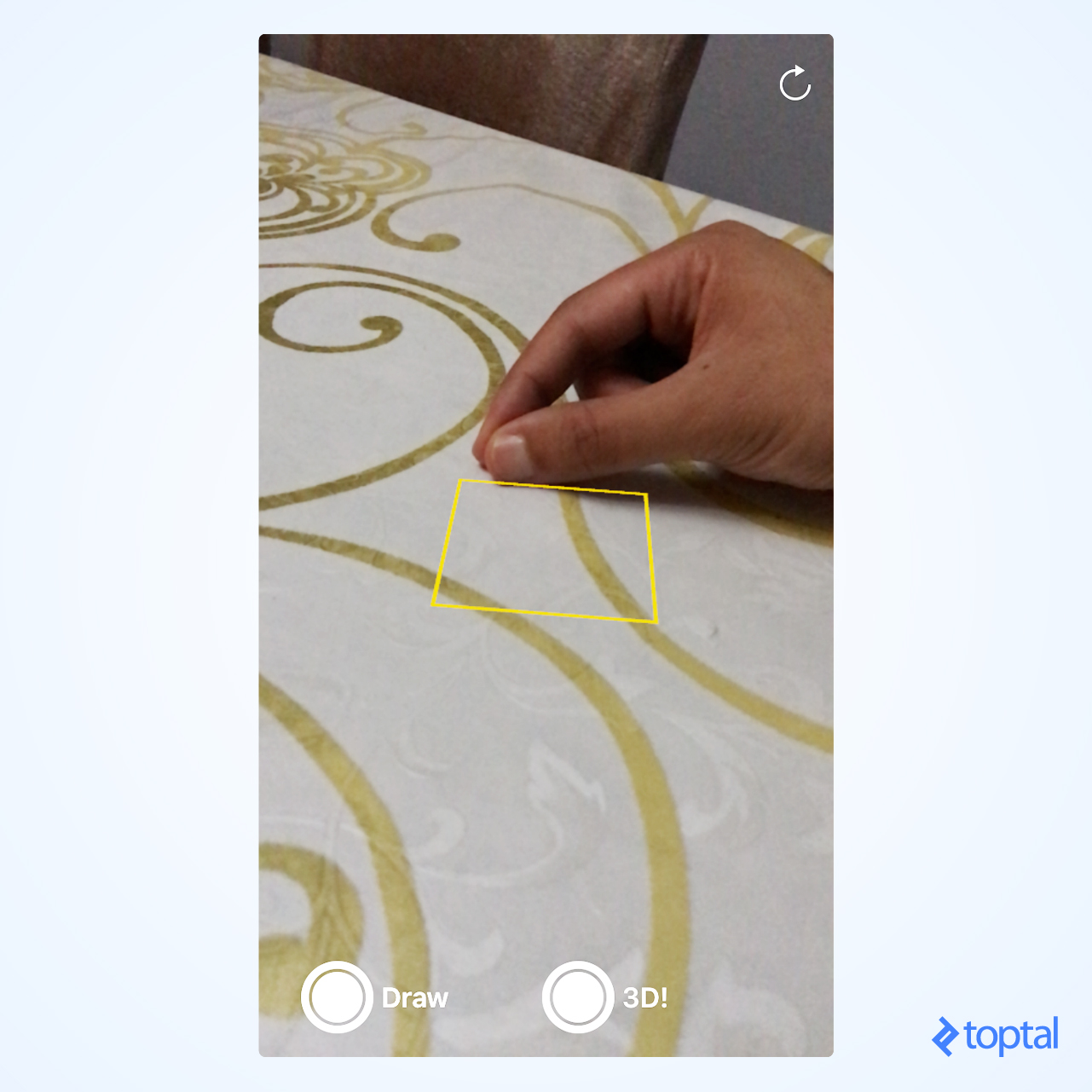 Focus square projected on a table using Apple ARKit