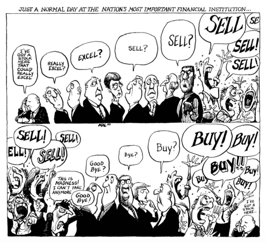 Cartoon panels: Just a normal day at the nation's most important financial institution...