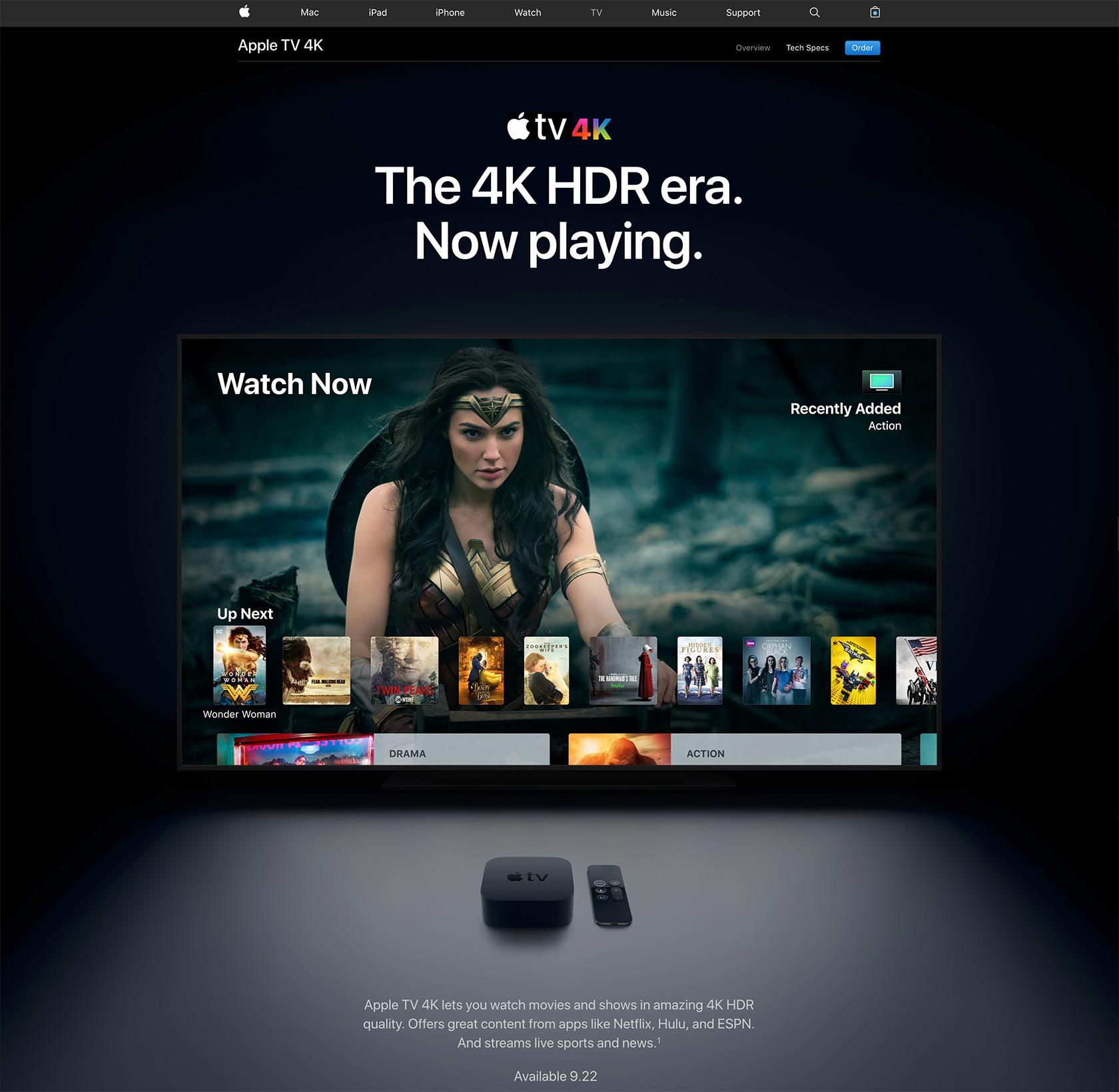 Apple's dark UI choice for Apple TV