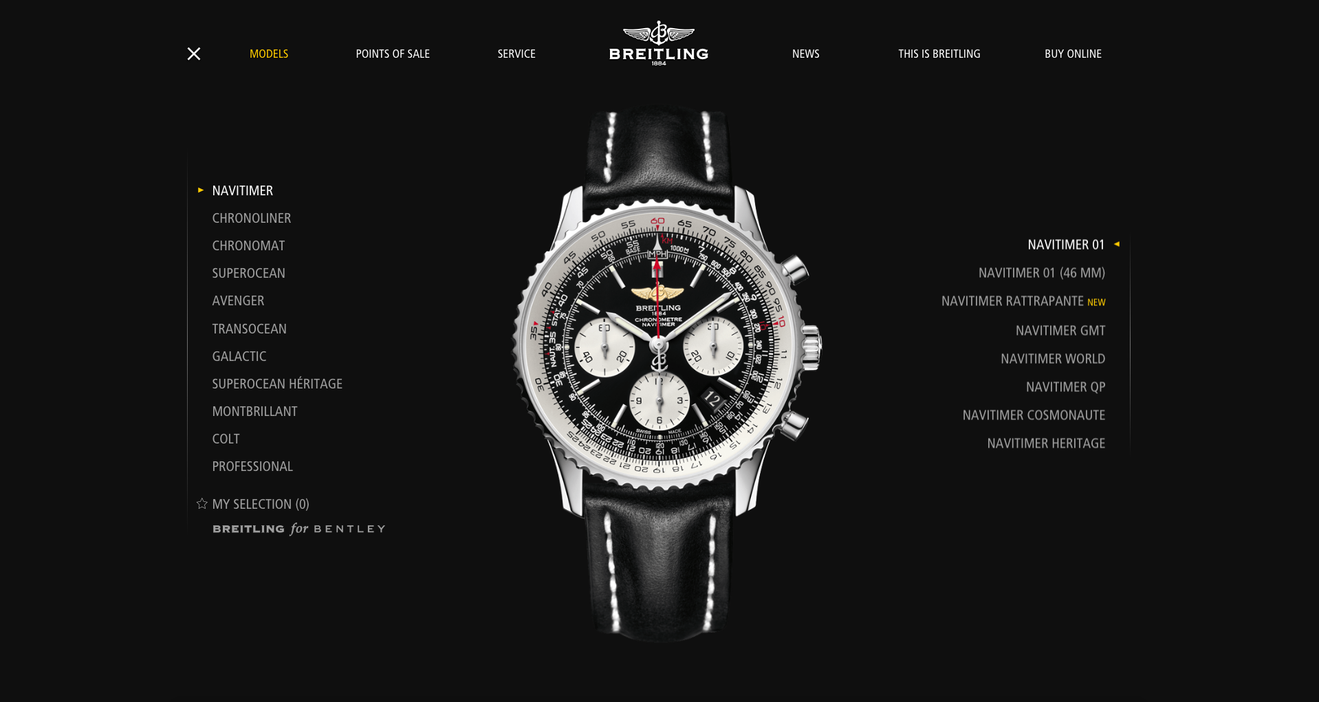 Breitling decided on a black background to make their watch designs stand out.
