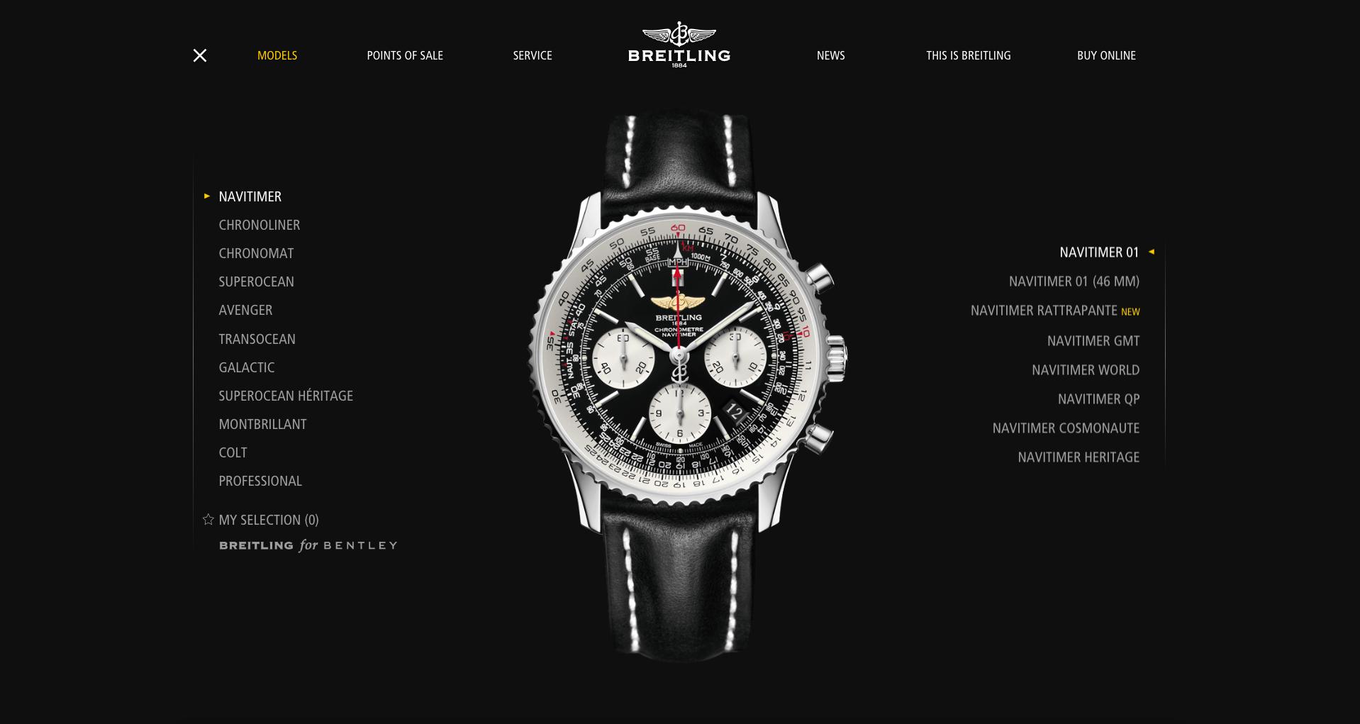 Breitling decidió sobre un fondo negro para hacer destacar sus diseños de relojes.
