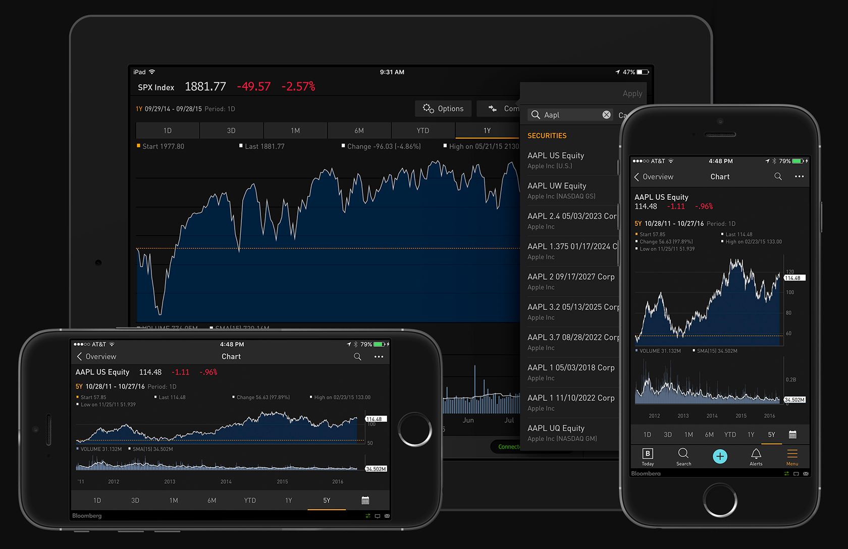 Las UI oscuras para las apps de iOS de Bloomberg Anywhere
