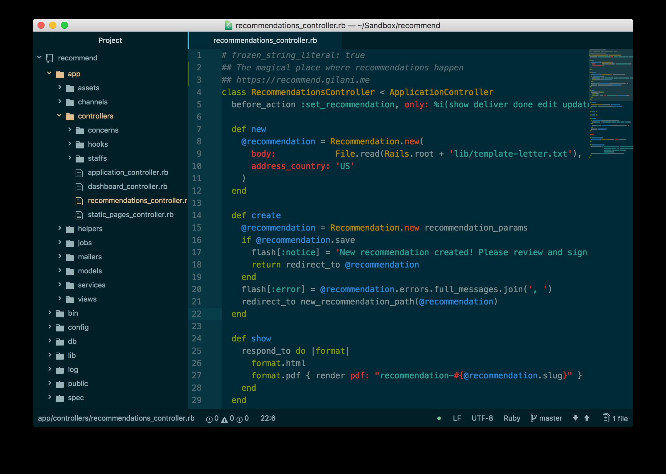 Toptal Developer Amin Shah Gilani's code editor by Atom