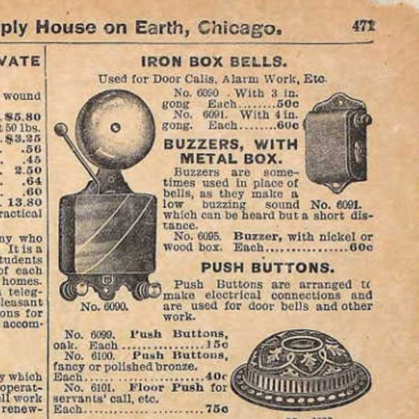 Scanned image from Sears First Electric Buzzer 1897 Fall Catalog