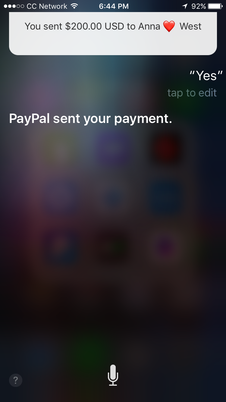 Siri used for PayPal transfer on iPhone