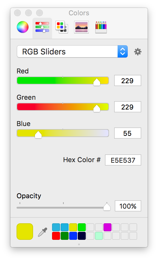iOS UI design: How to manually prepare a palette