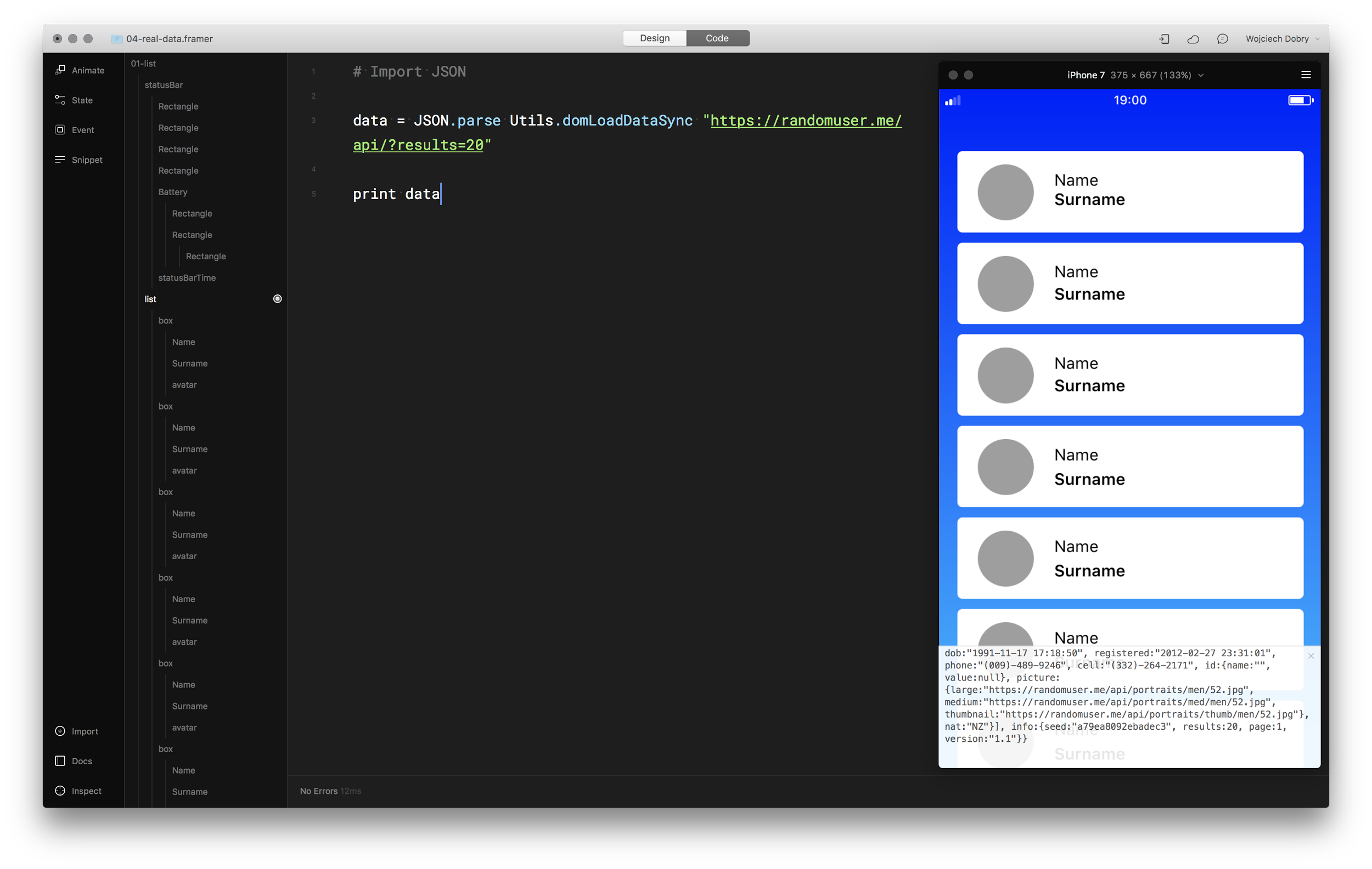 Framer with opened console window