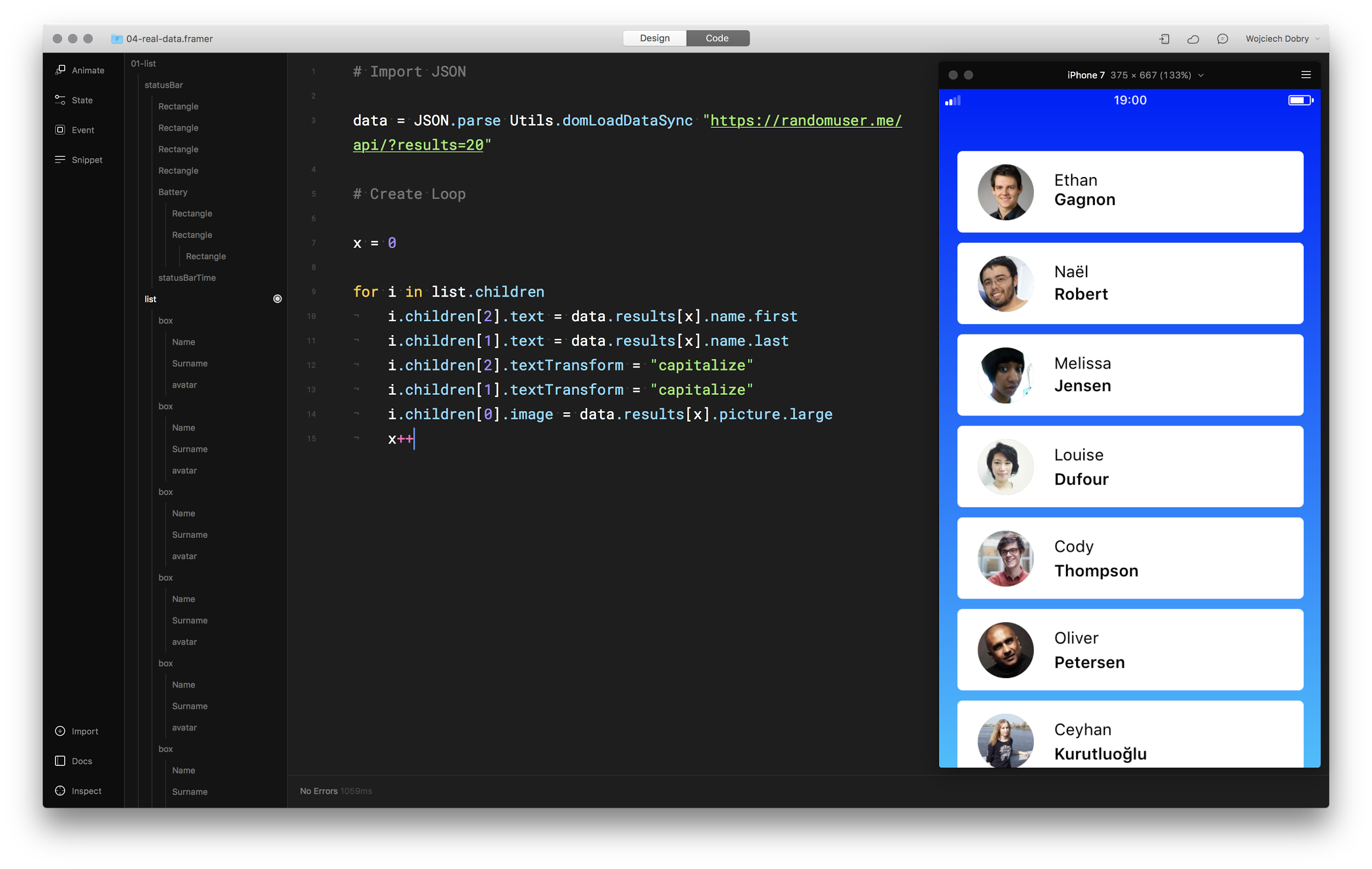 Final prototype in Framer