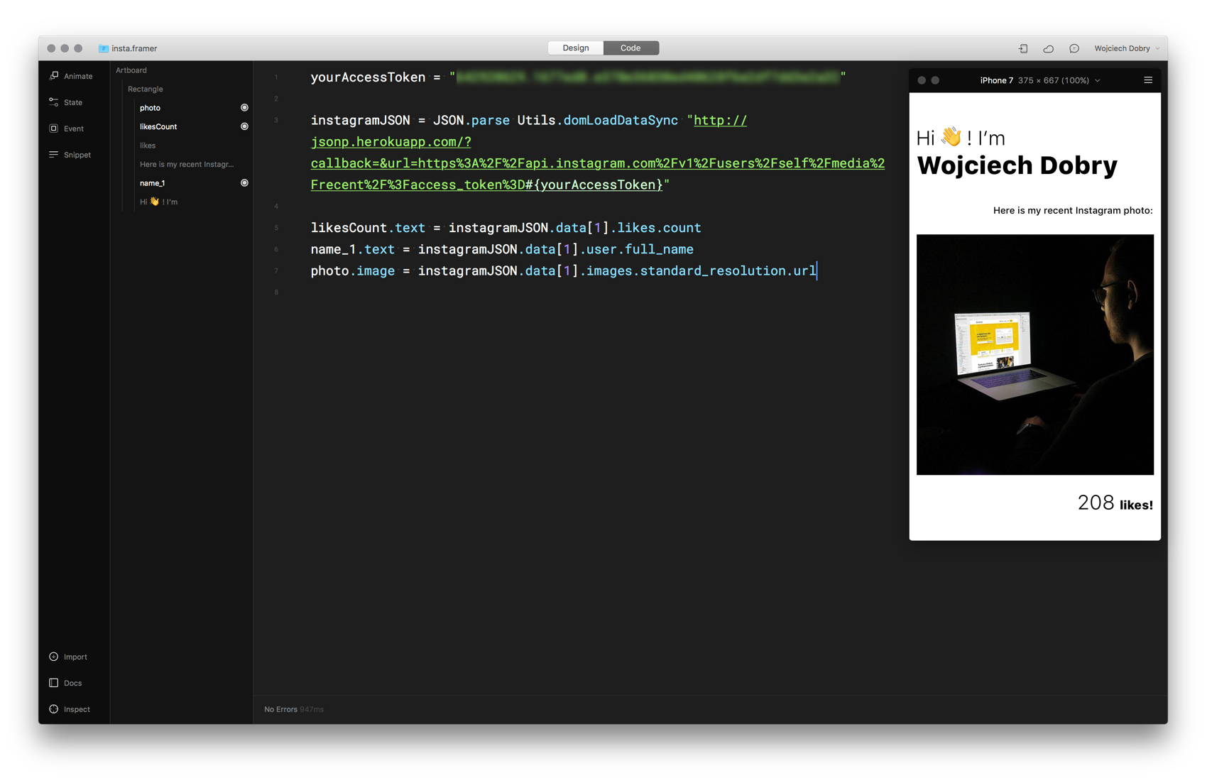 Final prototype in Framer -- code editor