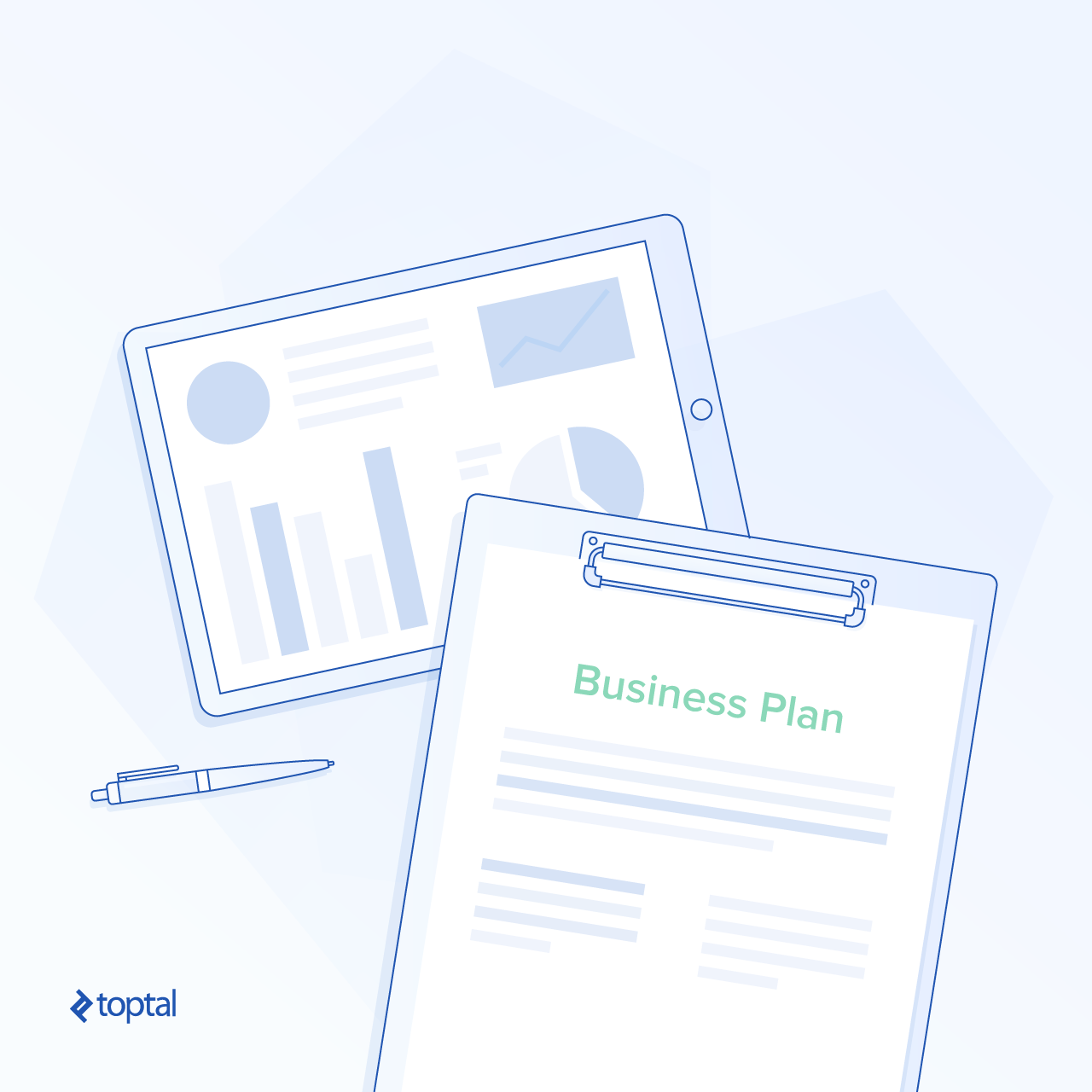 Illustration of a business plan document and graphic presentation