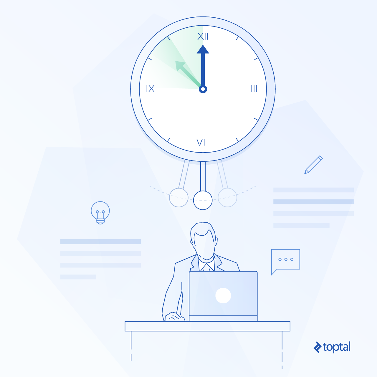 Graphic representation of a large clock over a person working at a desk
