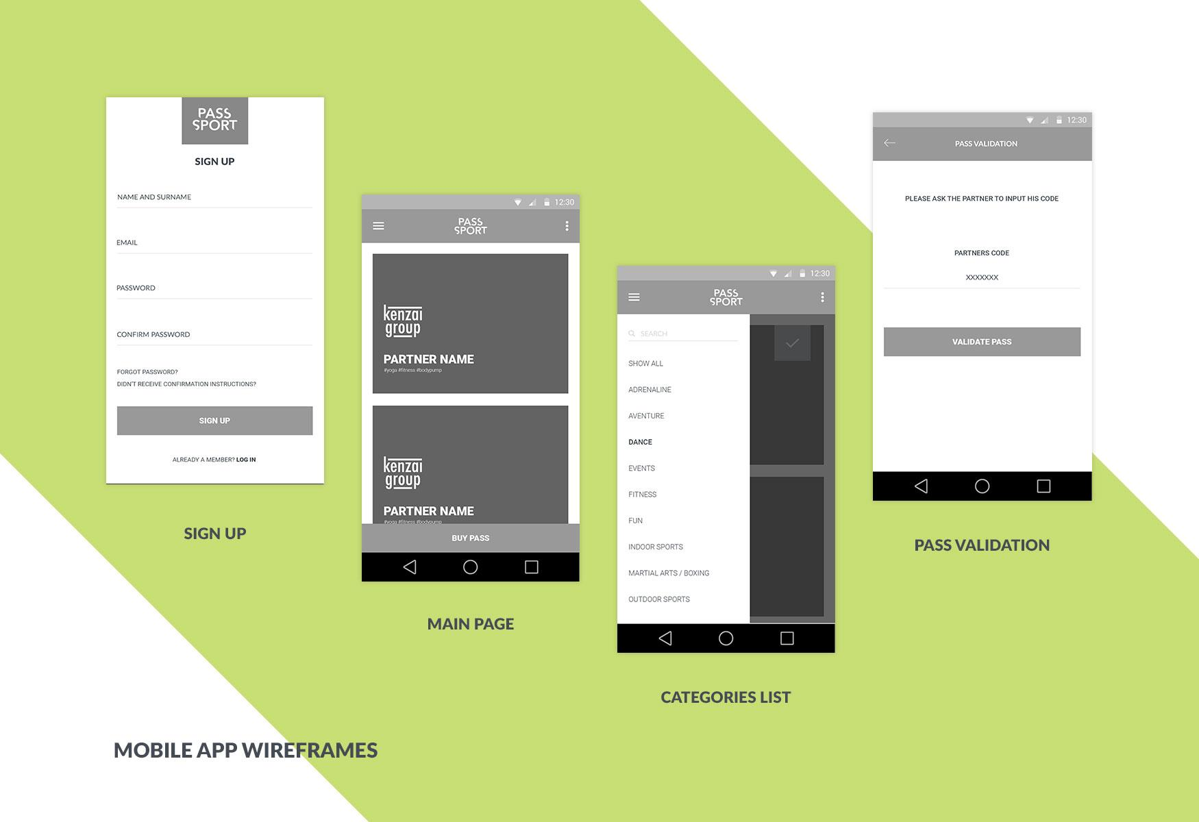 High-fidelity wireframes for an Android application