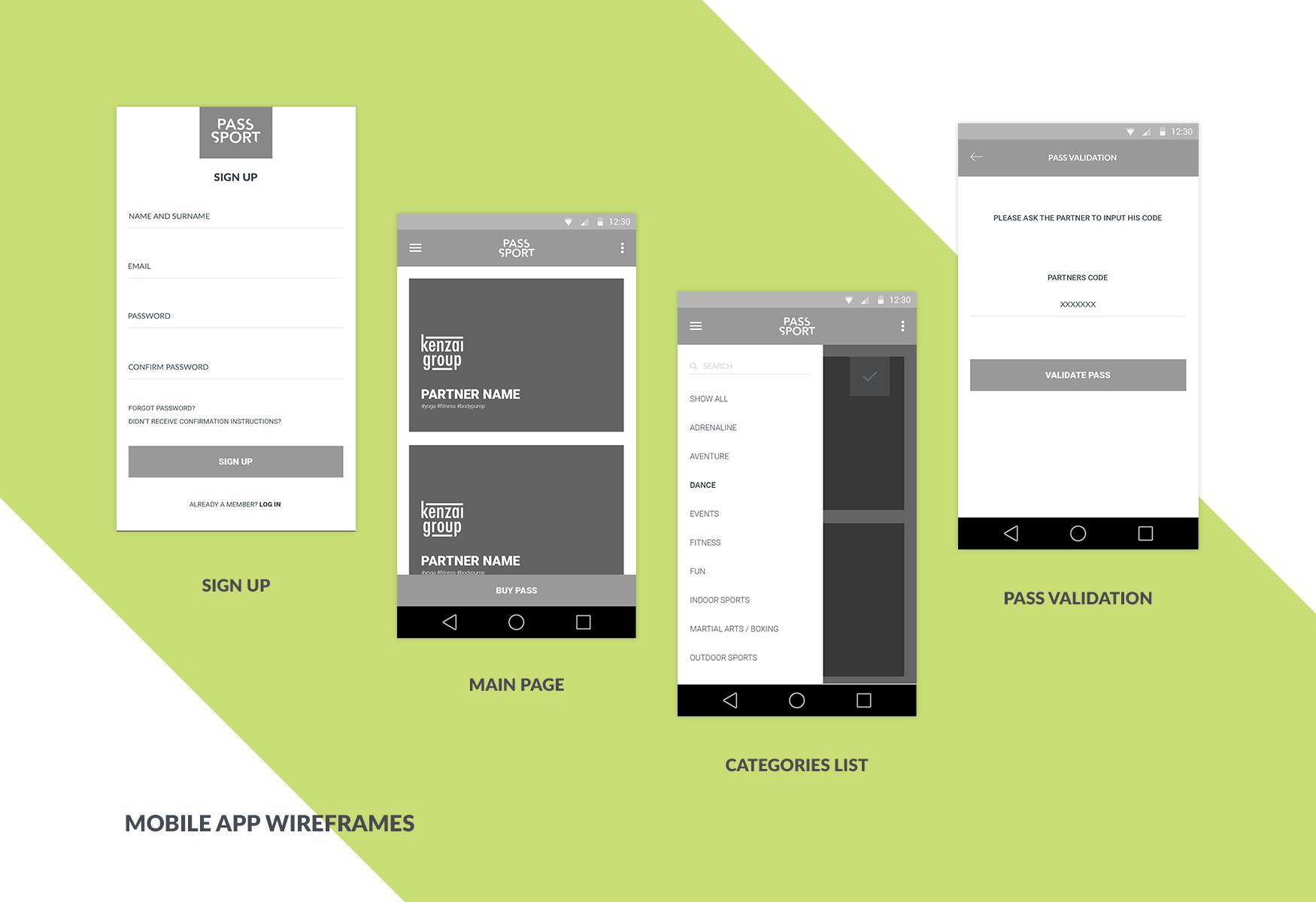 Wireframes de alta fidelidad para una aplicación de Android