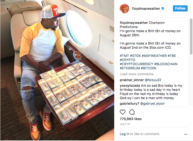 Image of the Instagram post from Floyd Mayweather