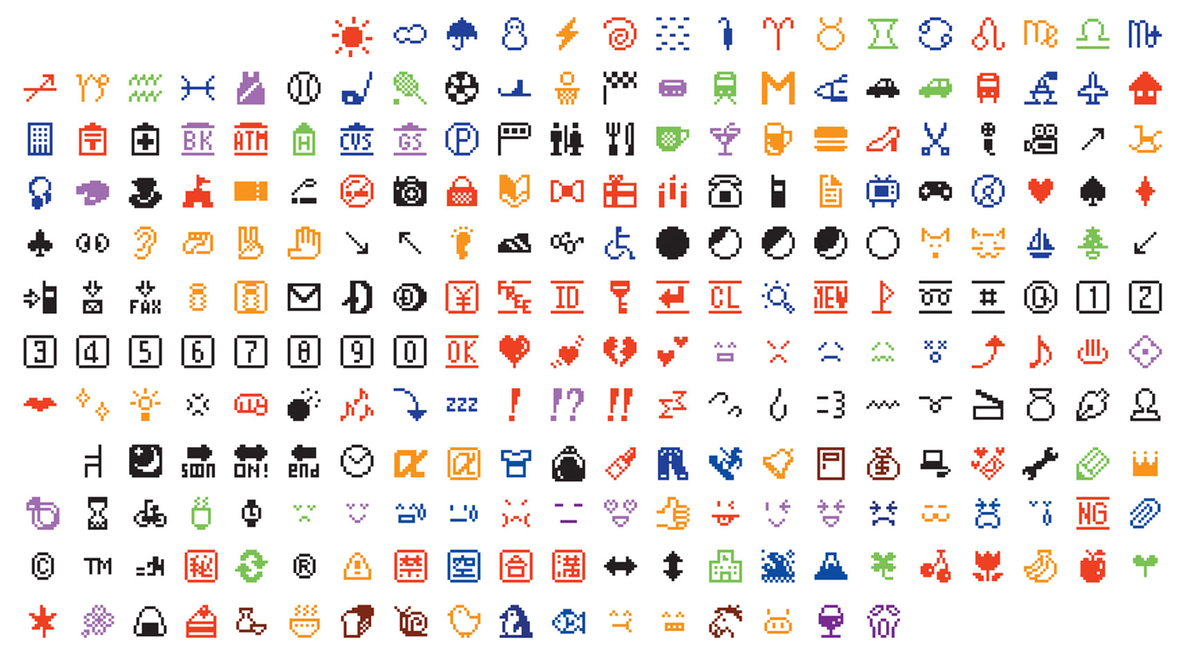 Emoji icons designed by Japanese artist Shigetaka Kurita in 1999