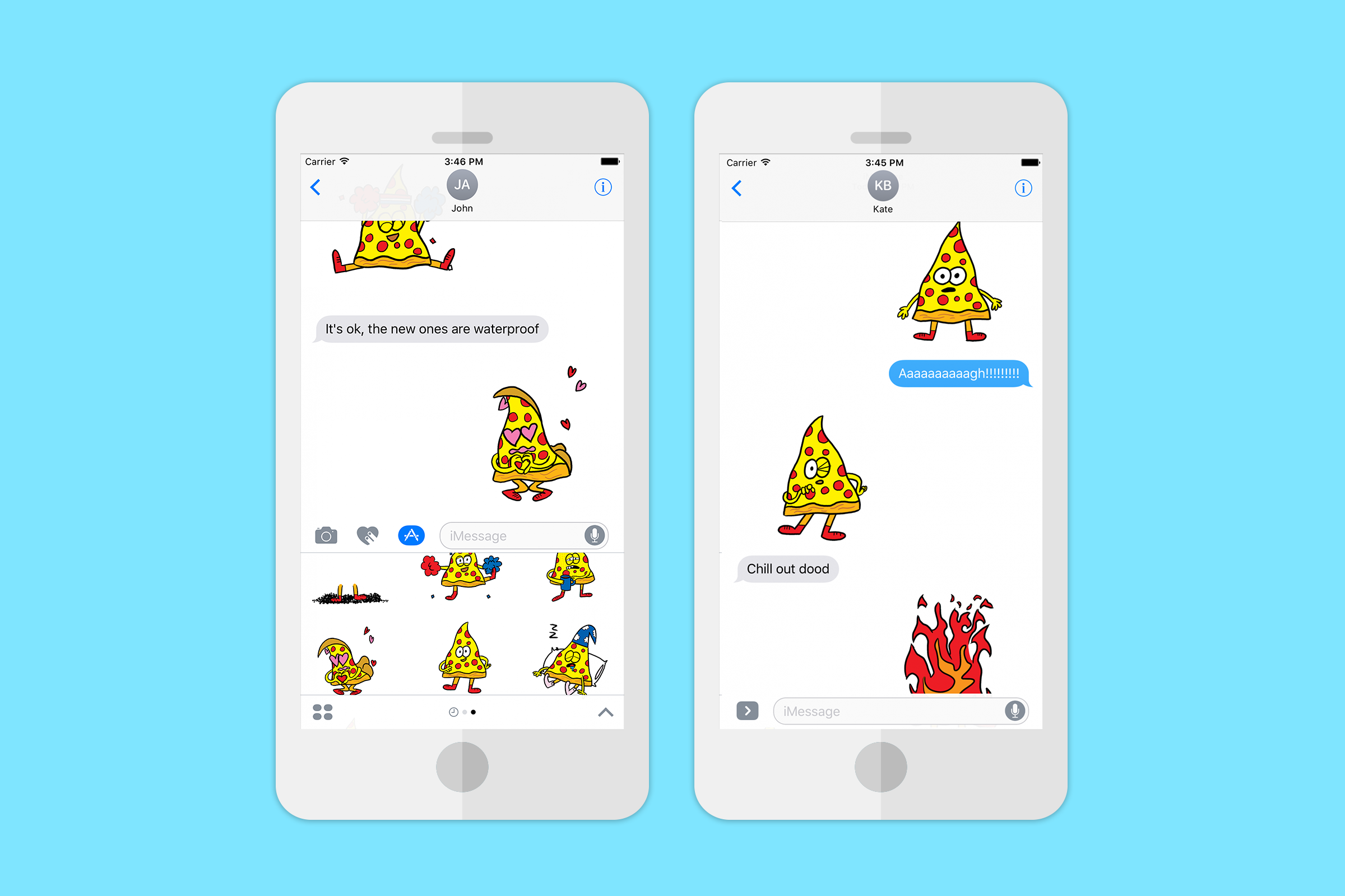 Jon Burgerman's free 'Pizza Friend' stickers in messaging