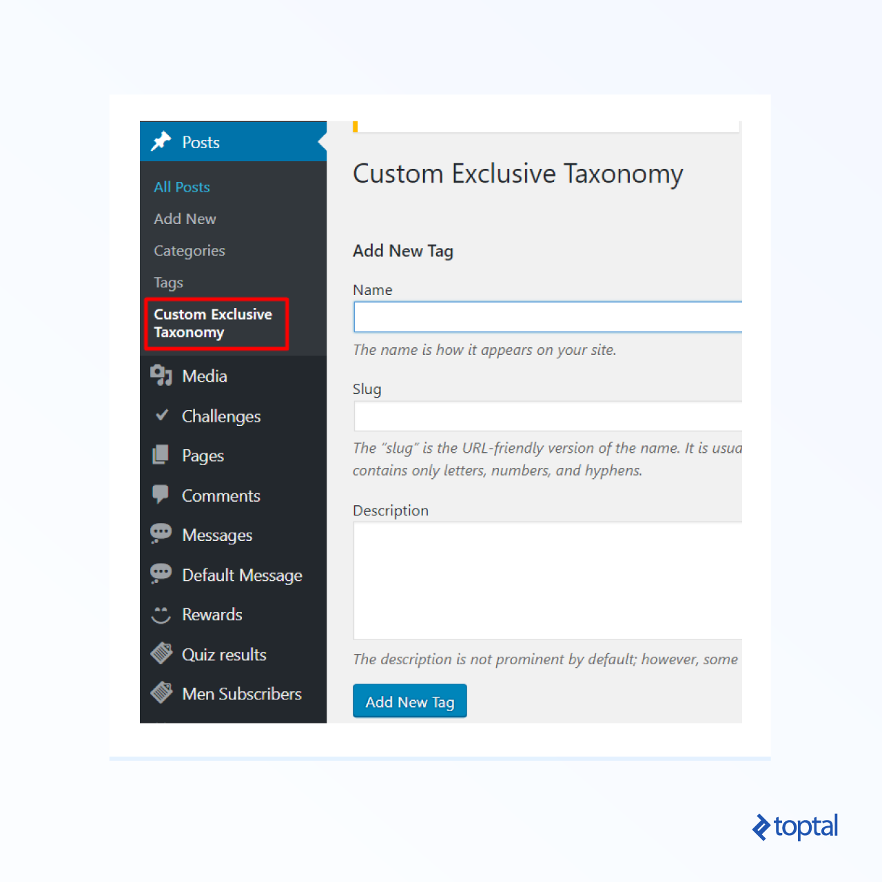 Screenshot of a meta box named Custom Exclusive Taxonomy with several radio buttons