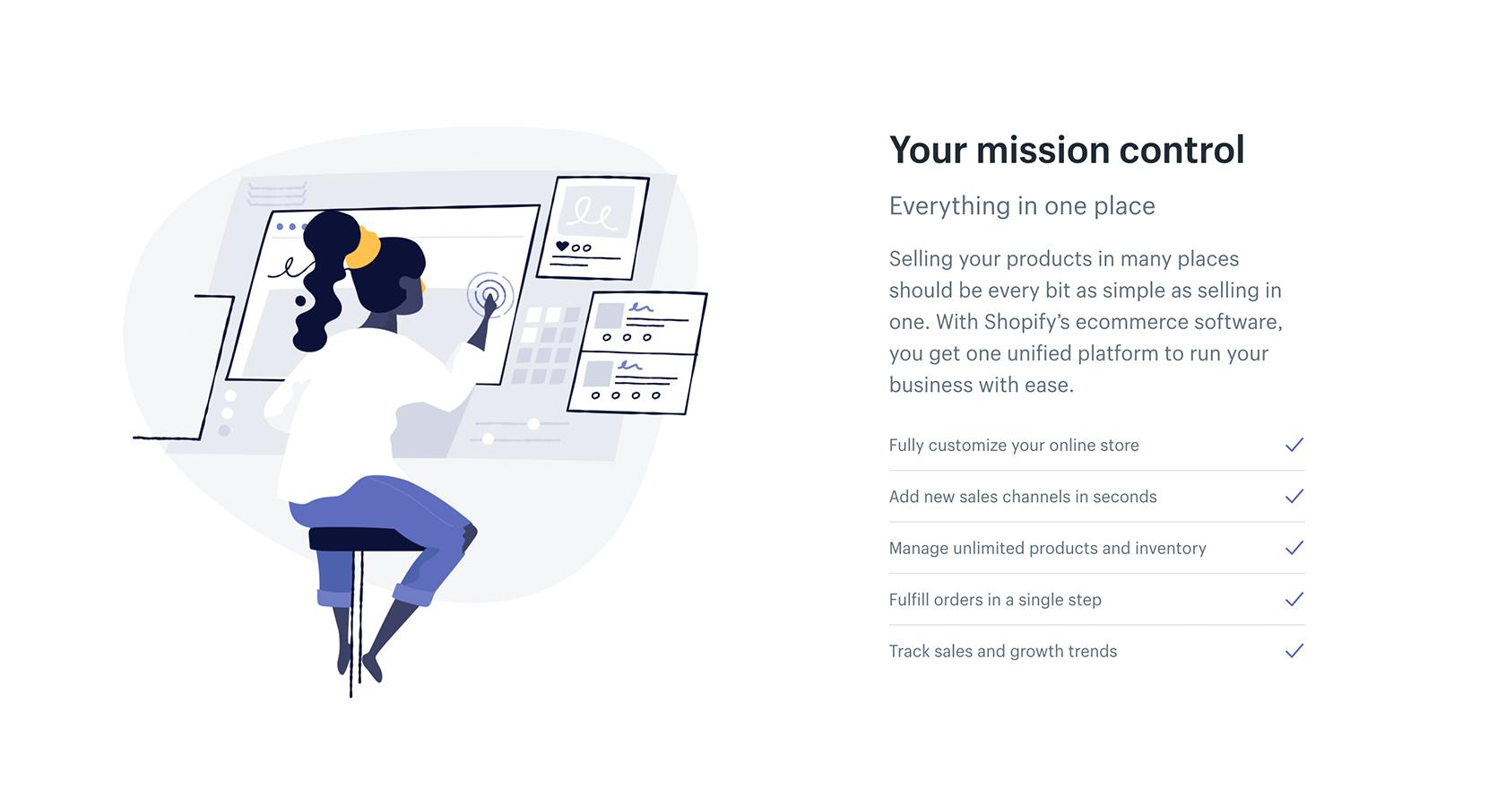 Shopify brand website illustrations by Meg Robichaud