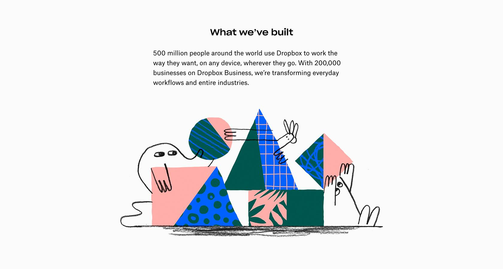 Dropbox brand website illustrations by Justin Tran