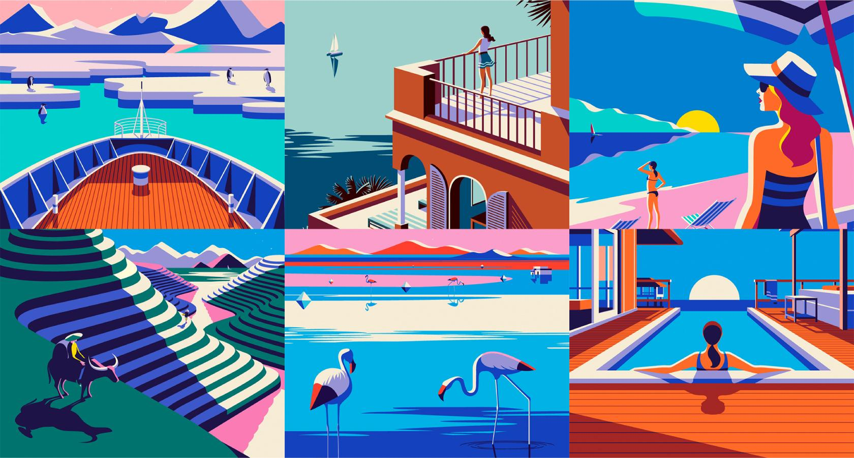 Advertising illustration system for Kuoni Travel Website France by Malika Favre
