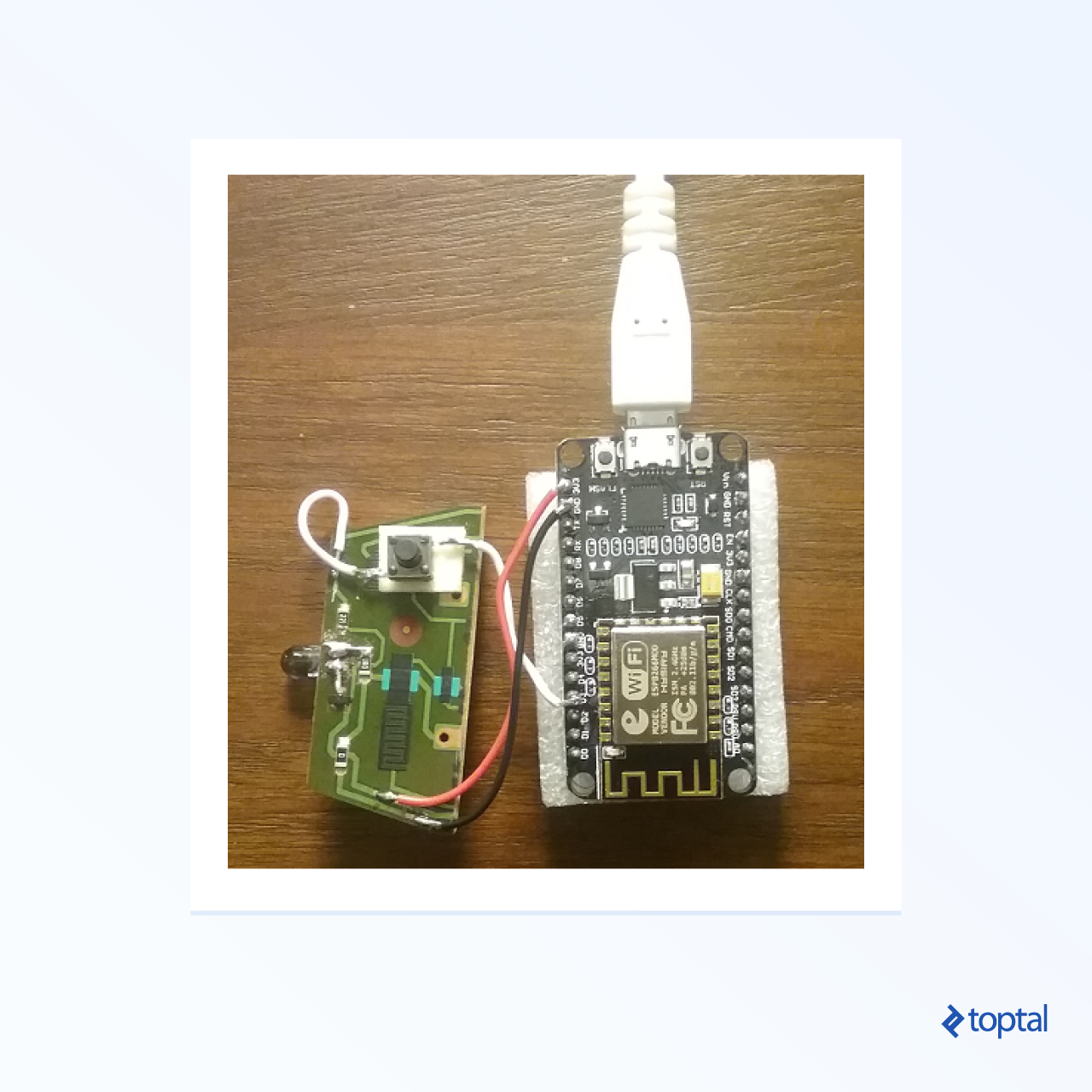 Photograph of ESP8266 with IR diode attached
