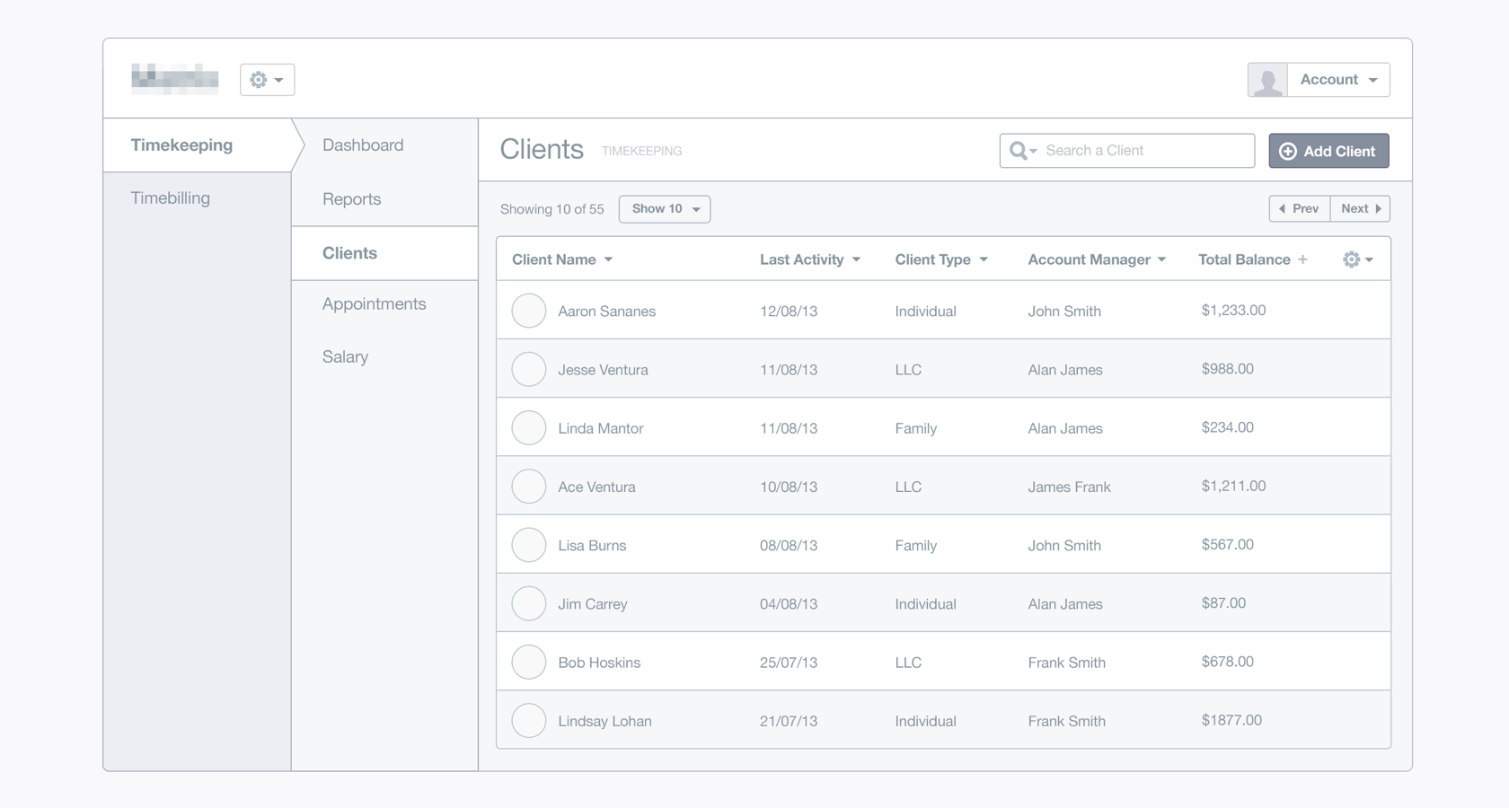 Dashboard design low-fidelity wireframe