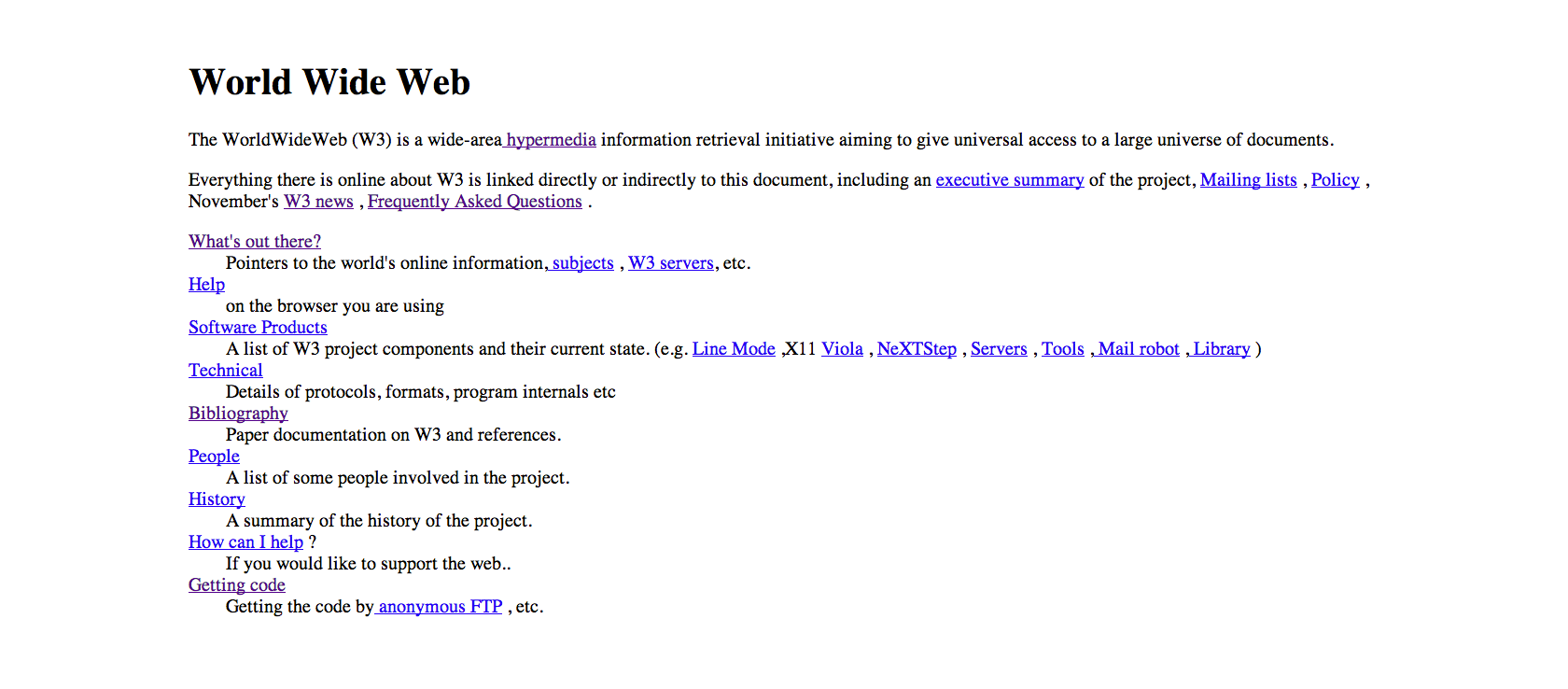 World Wide Web first site in 1991