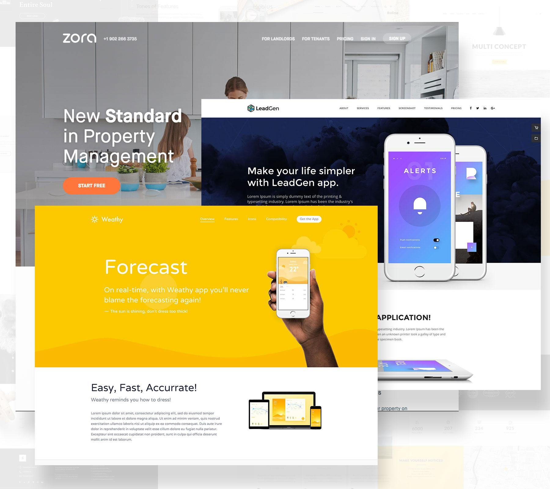 Landing pages with minimalist design