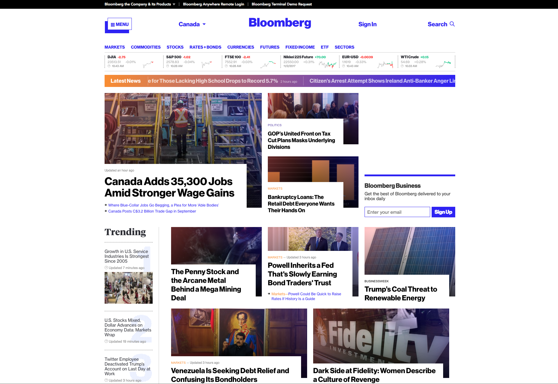 Bloomberg brutalist website