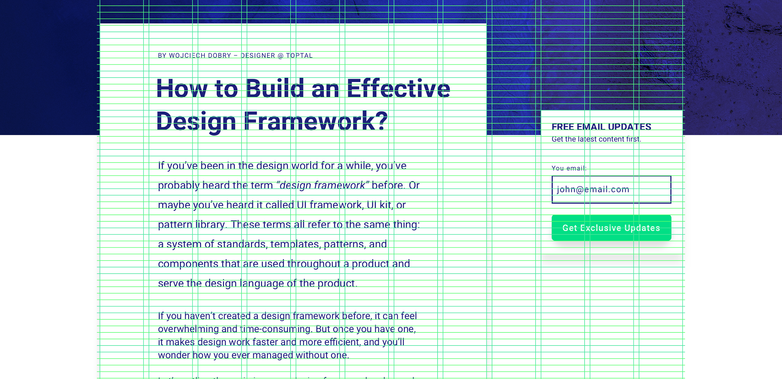 Vertical and horizontal grid in design framework