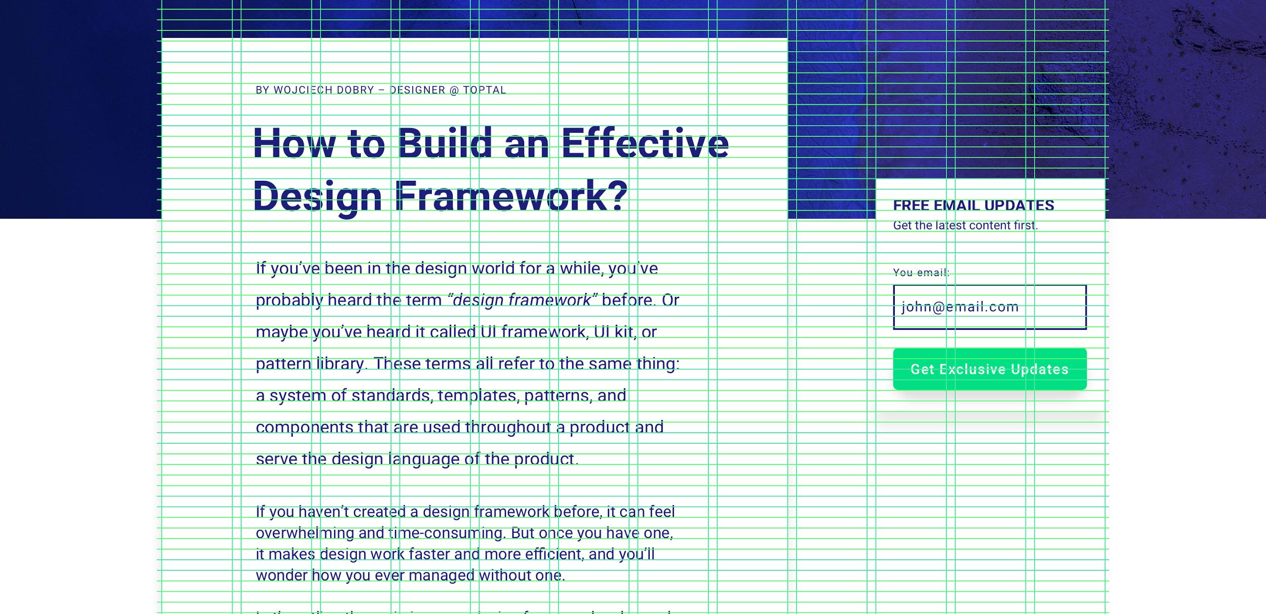 Cuadrícula vertical y horizontal en el framework de diseño
