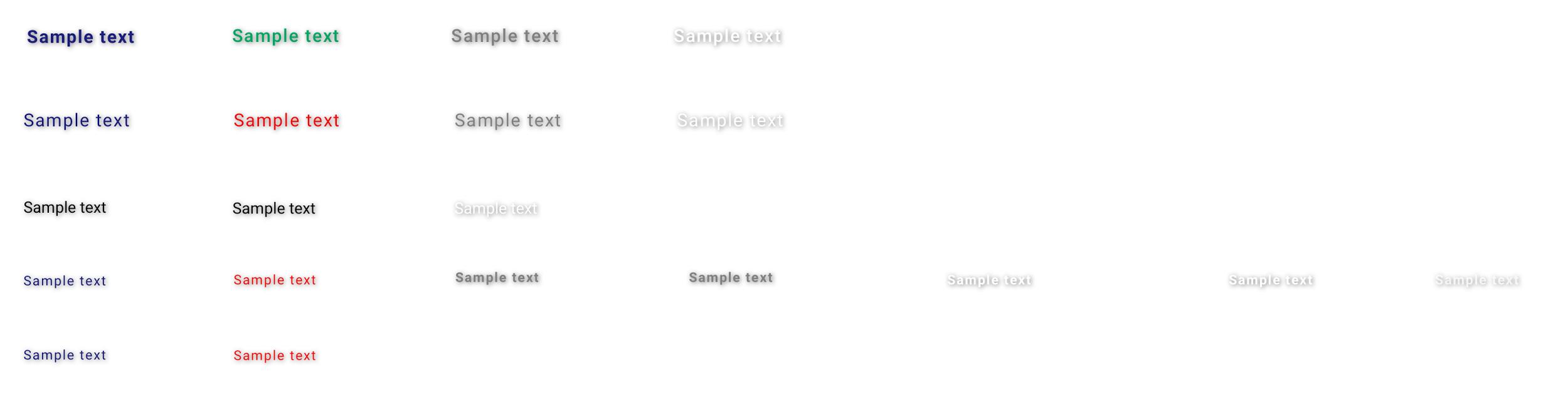 Diferentes variaciones de copia que aparecen en los componentes interactivos