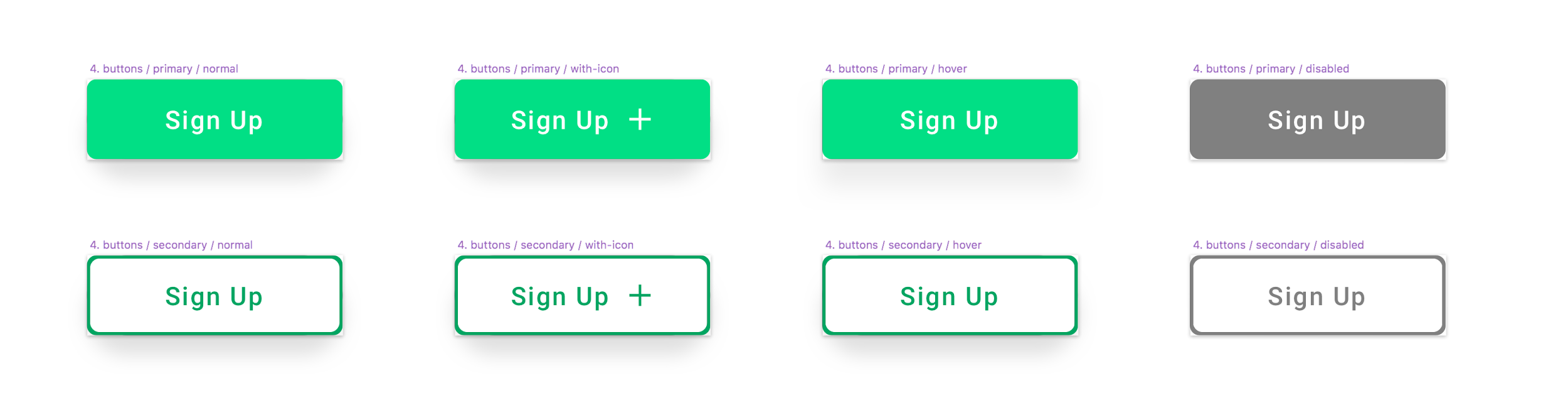 Diferentes estados de botones y alternativas estilísticas