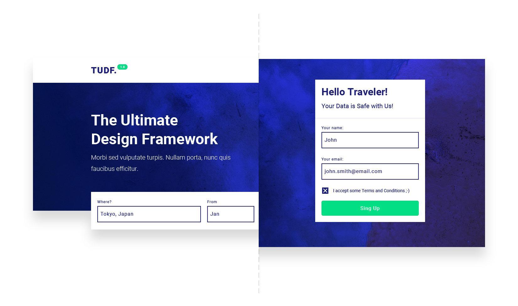 Diferentes secciones del sitio web elaboradas a partir de componentes de interfaz de usuario complejos para un framework de diseño de interfaz de usuario