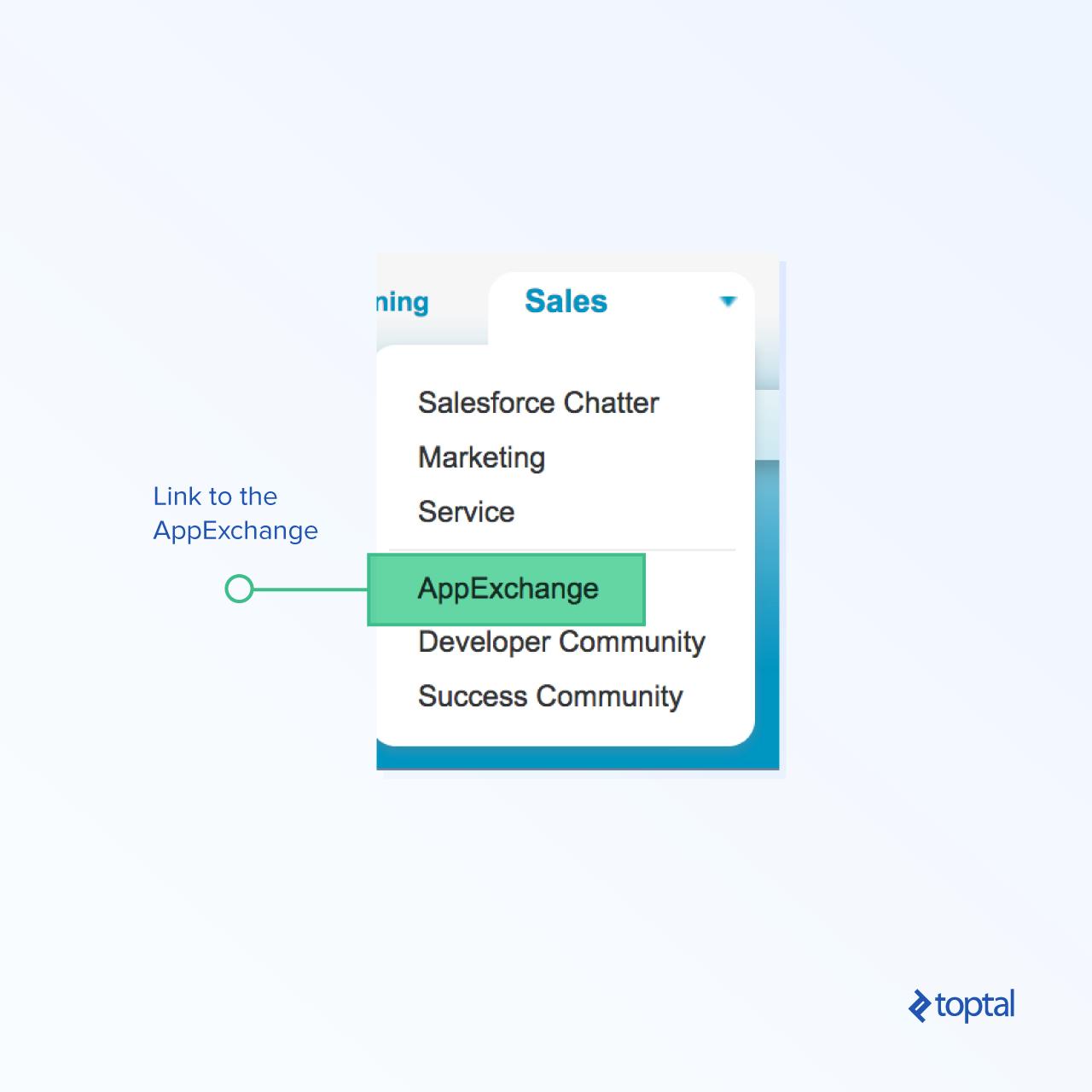 Encontrar el enlace dentro de Salesforce para comenzar.