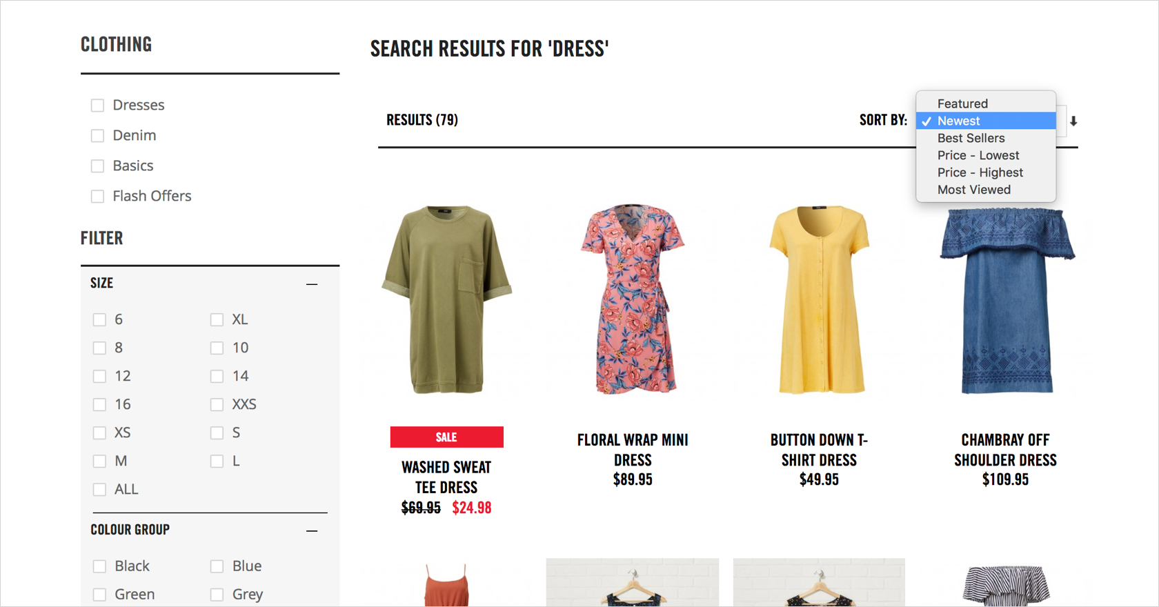 ecommerce design filtering search results