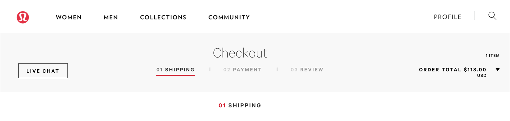 ecommerce checkout UI design