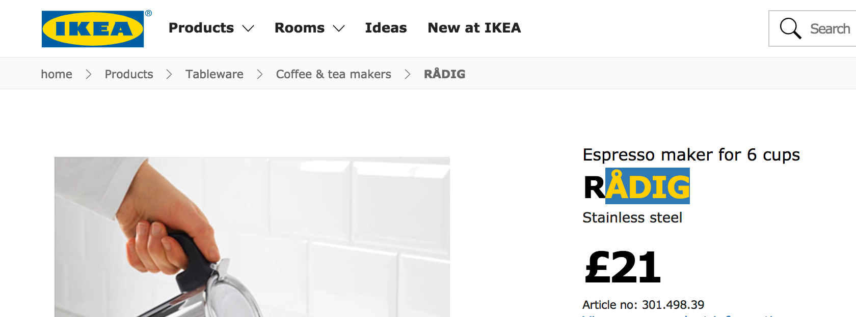 IKEA's highlighted text