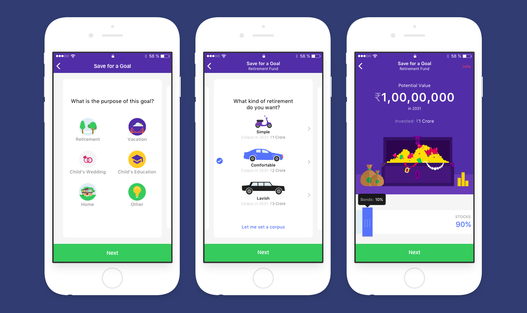 The fintech app's UX and UI are geared towards financial goals