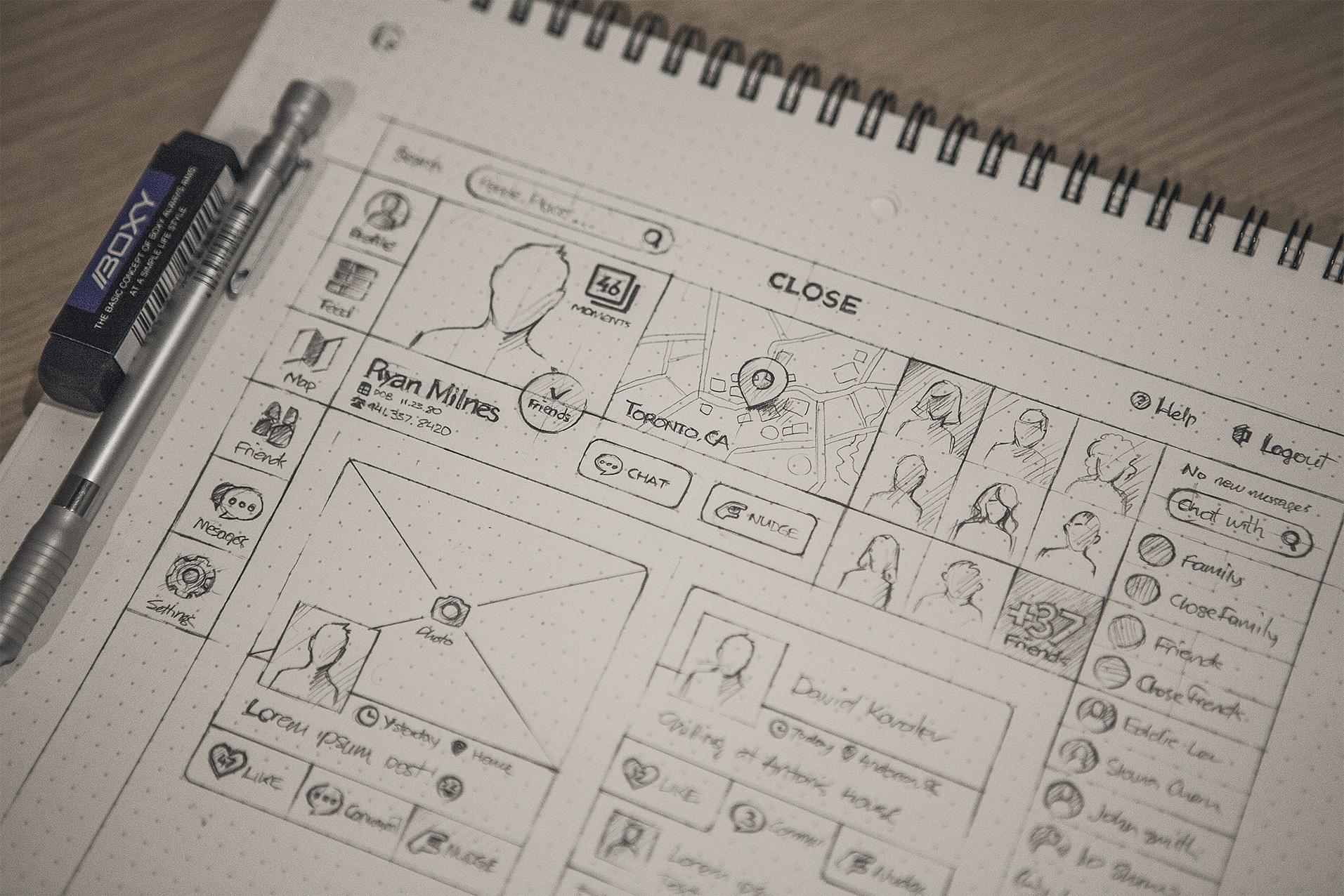 Sketching user-flow and information architecture, components of the UX design process