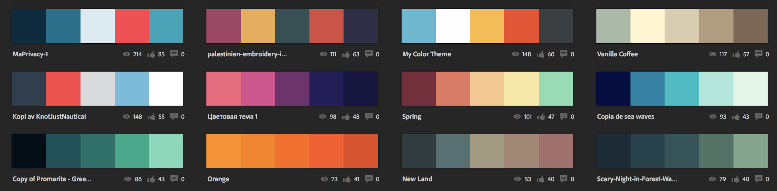 different logotype color palettes in Adobe Color CC