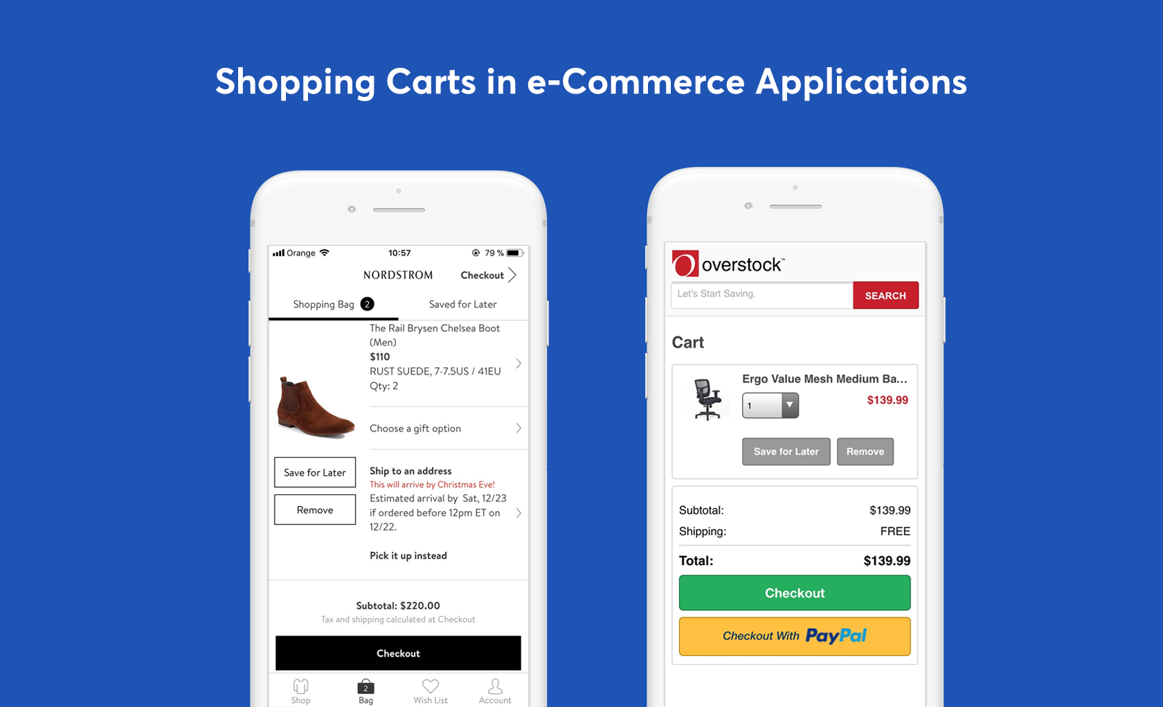 mobile eCommerce ux shopping cart save feature