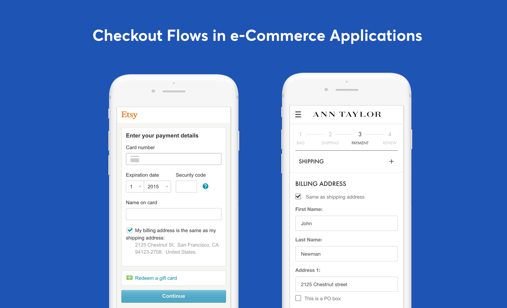 mobile eCommerce ux checkout flows