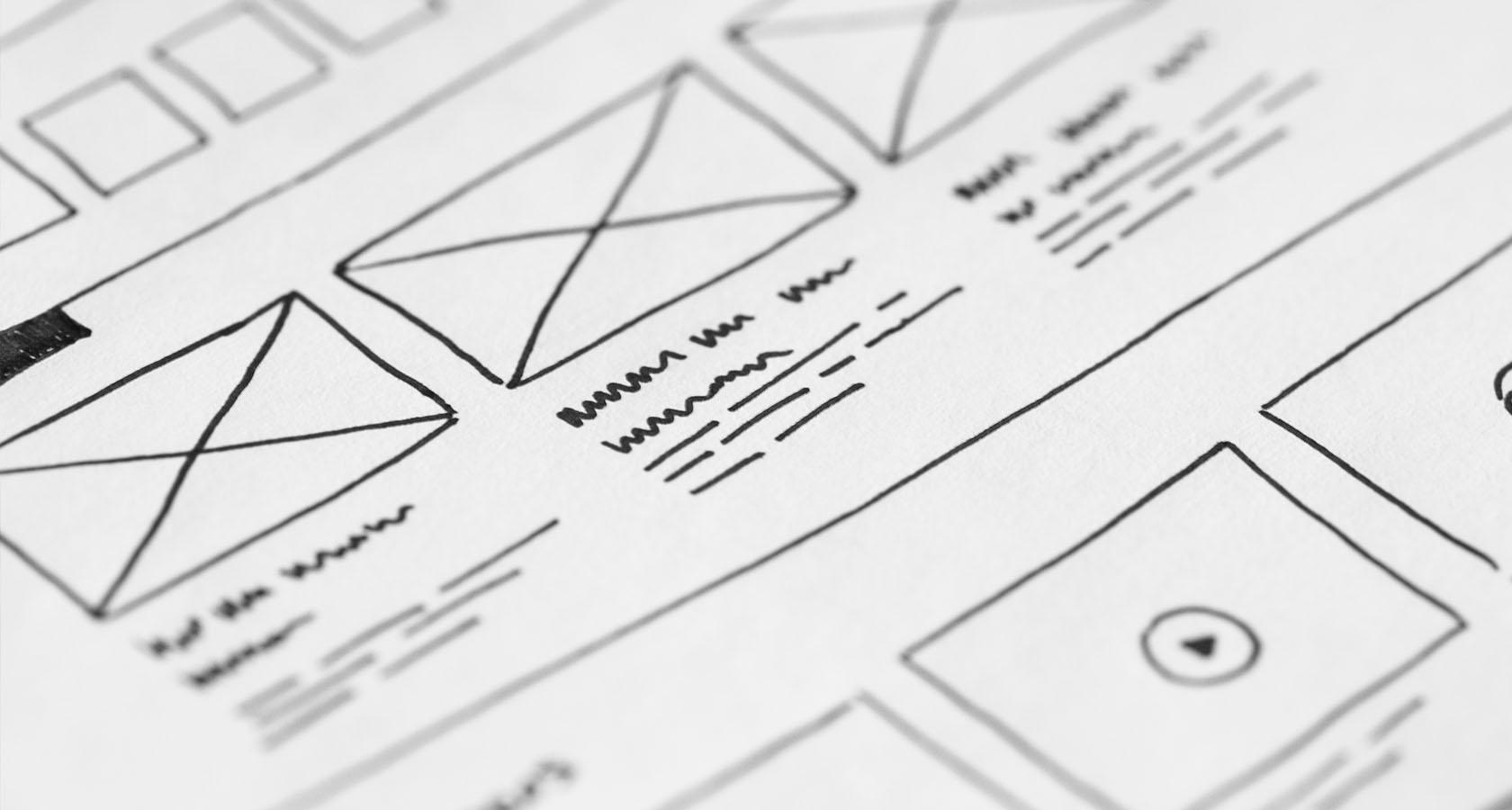 ui and ux wireframe sketching