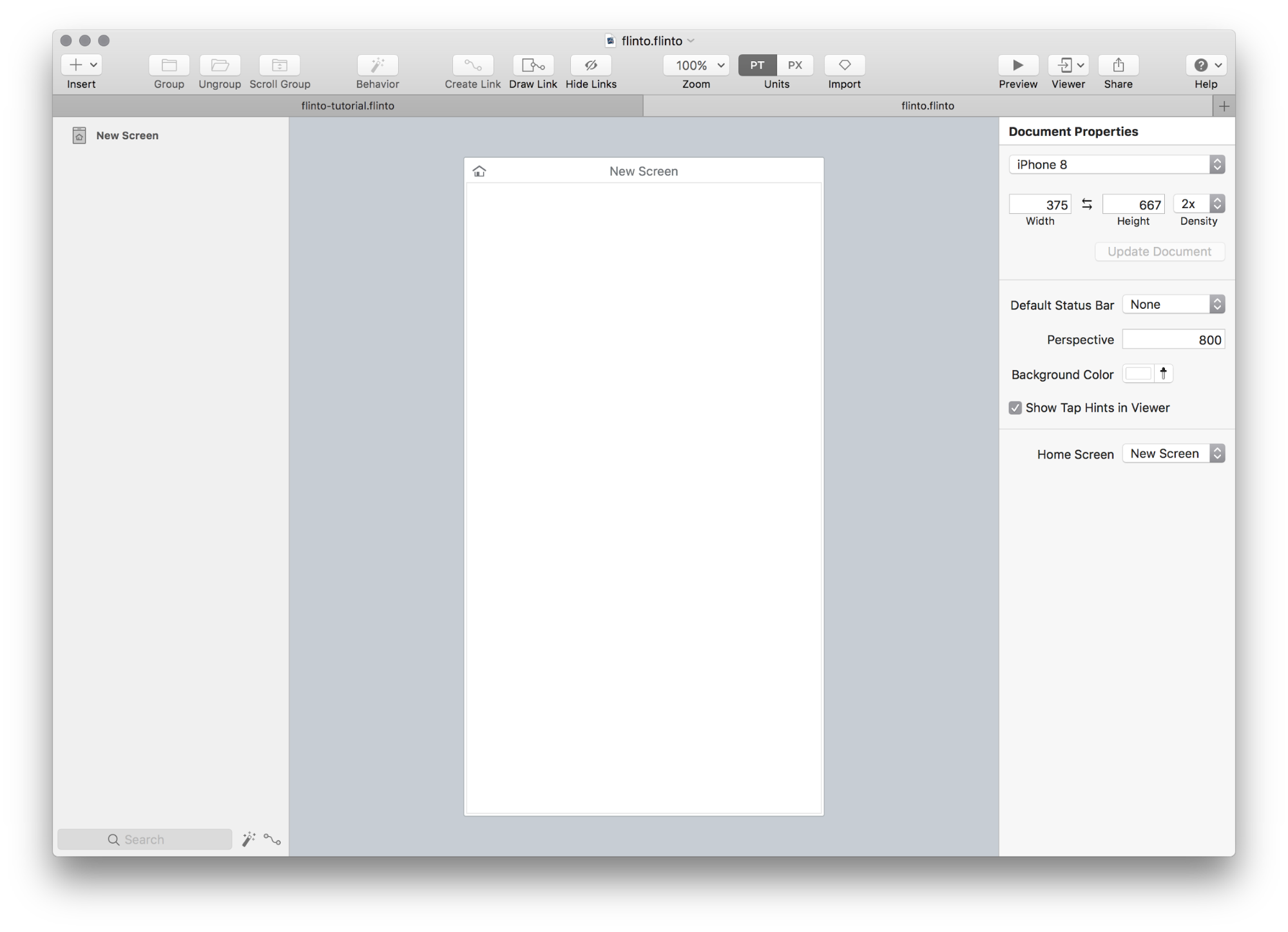 new mobile prototype in flinto for mac