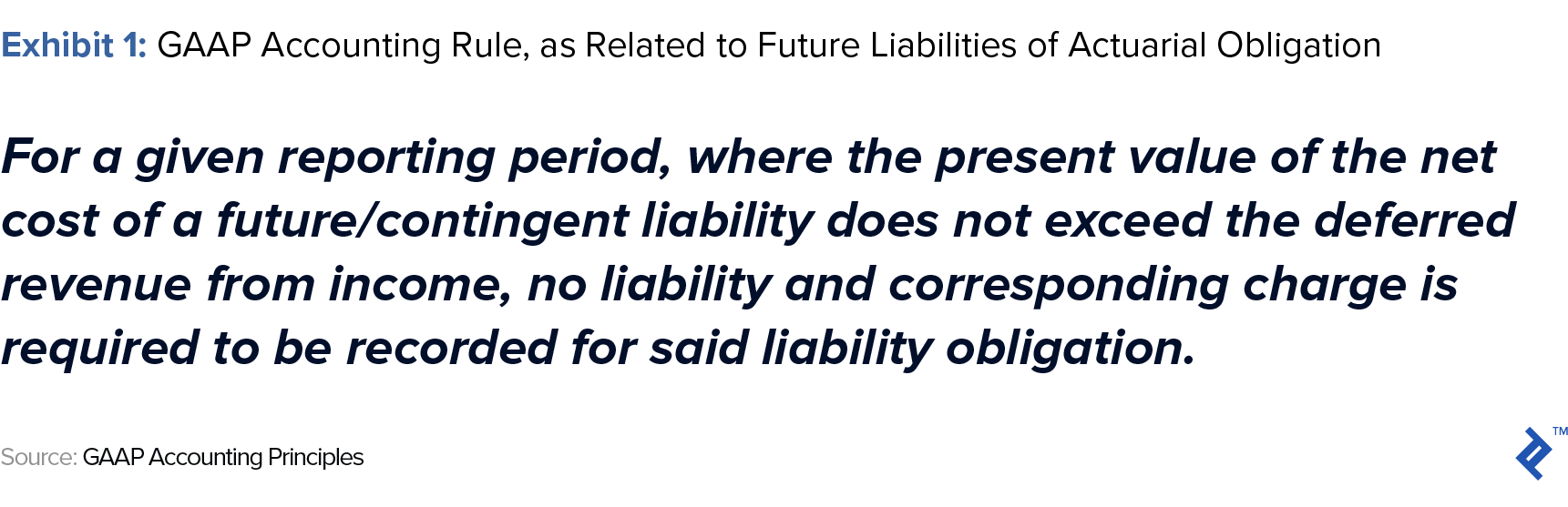 gaap accounting rule, as related to future liabilities of actuarial obligation