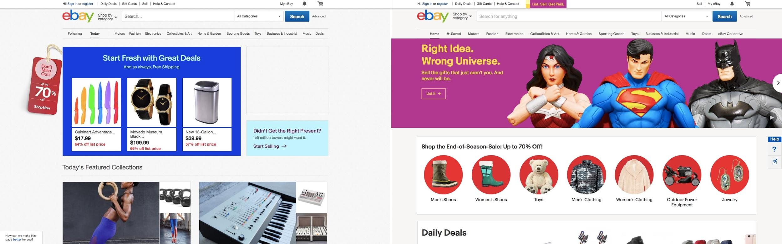 eBay, before and after their redesign