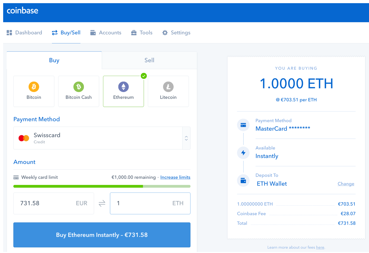 Screenshot of the Coinbase User Interface